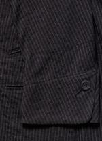 Double placket pinstripe cotton-linen blazer