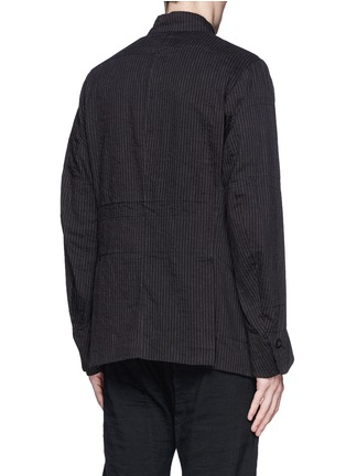 背面 - 点击放大 - ZIGGY CHEN - 棉麻条纹立领外套