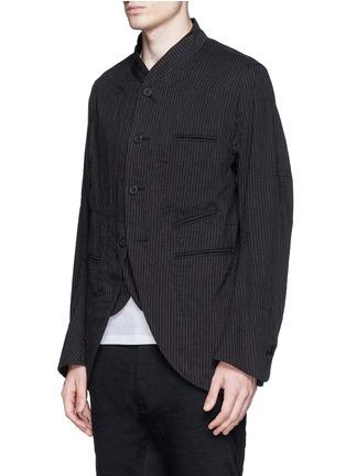 正面 - 点击放大 - ZIGGY CHEN - 棉麻条纹立领外套