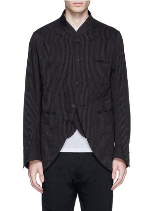 Main View - Click To Enlarge - Ziggy Chen - Double placket pinstripe cotton-linen blazer