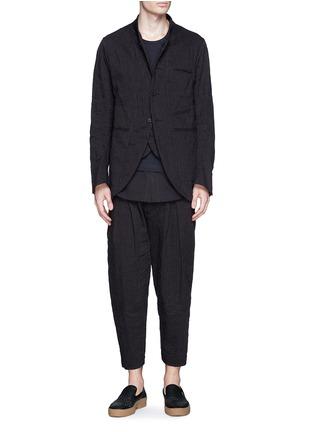 模特示范图 - 点击放大 - ZIGGY CHEN - 棉麻条纹立领外套