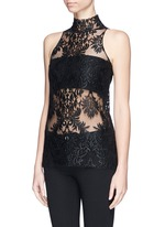 Floral embroidery mesh top