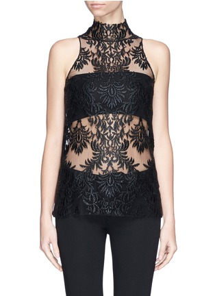 Ms MIN-Floral embroidery mesh top