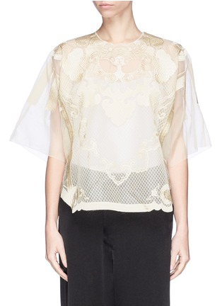 Main View - Click To Enlarge - Ms MIN - Lion embroidery silk gauze top