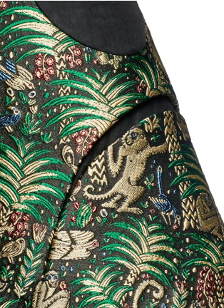 Detail View - Click To Enlarge - DELPOZO - Tropical leaf jacquard high waist skirt
