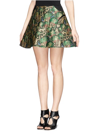 Front View - Click To Enlarge - DELPOZO - Tropical leaf jacquard high waist skirt