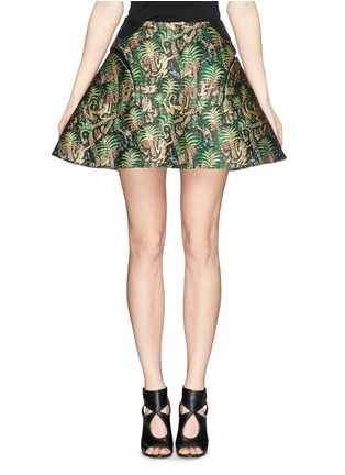 Main View - Click To Enlarge - DELPOZO - Tropical leaf jacquard high waist skirt