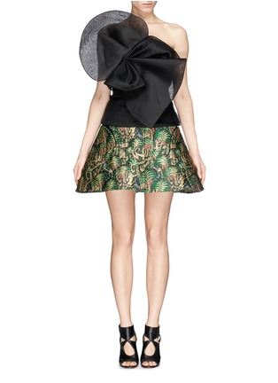 Figure View - Click To Enlarge - DELPOZO - Tropical leaf jacquard high waist skirt