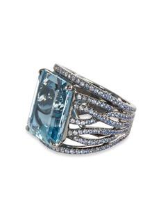 Eternamé Aquamarine sapphire rhodium 18k white gold ring