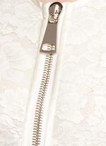 Lace cascade ruffle zip gown