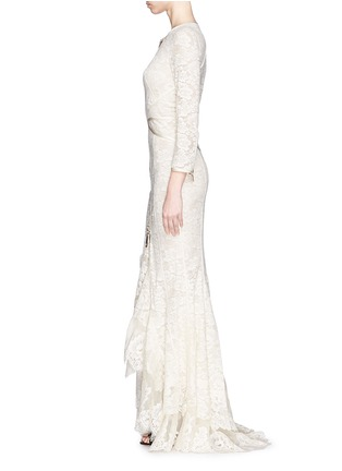Detail View - Click To Enlarge - Givenchy - Lace cascade ruffle zip gown