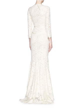 Back View - Click To Enlarge - Givenchy - Lace cascade ruffle zip gown