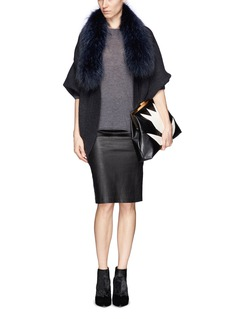 YVES SALOMON Raccoon fur collar cocoon cardigan