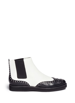 Main View - Click To Enlarge - Michael Kors - 'Sofie' rivet wingtip leather Chelsea boots