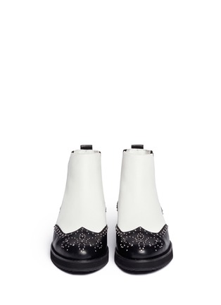 Figure View - Click To Enlarge - Michael Kors - 'Sofie' rivet wingtip leather Chelsea boots