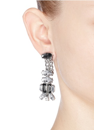 Figure View - Click To Enlarge - Kenneth Jay Lane - Chain and crystal drop earrings