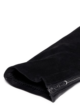 Detail View - Click To Enlarge - Lanvin - 'Gladia' medium lamb leather goat suede zip gloves