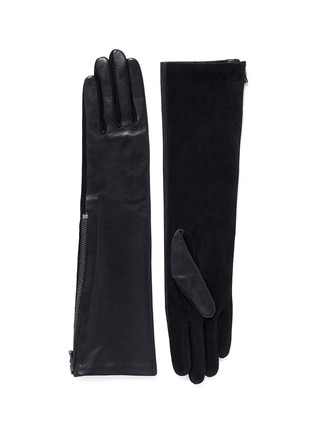 Main View - Click To Enlarge - Lanvin - 'Gladia' medium lamb leather goat suede zip gloves