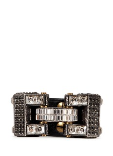 LANVIN'Dahomar' crystal leather hinge bracelet