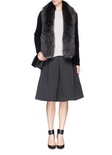 YVES SALOMON Detachable finn raccoon fur collar cashmere cardigan