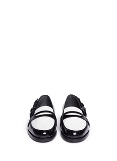 MAIYET Flower appliqué colourblock leather loafers