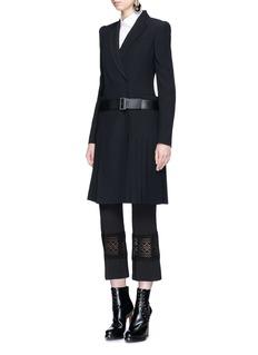 Alexander McQueenPleated skirt belted leaf crepe coat