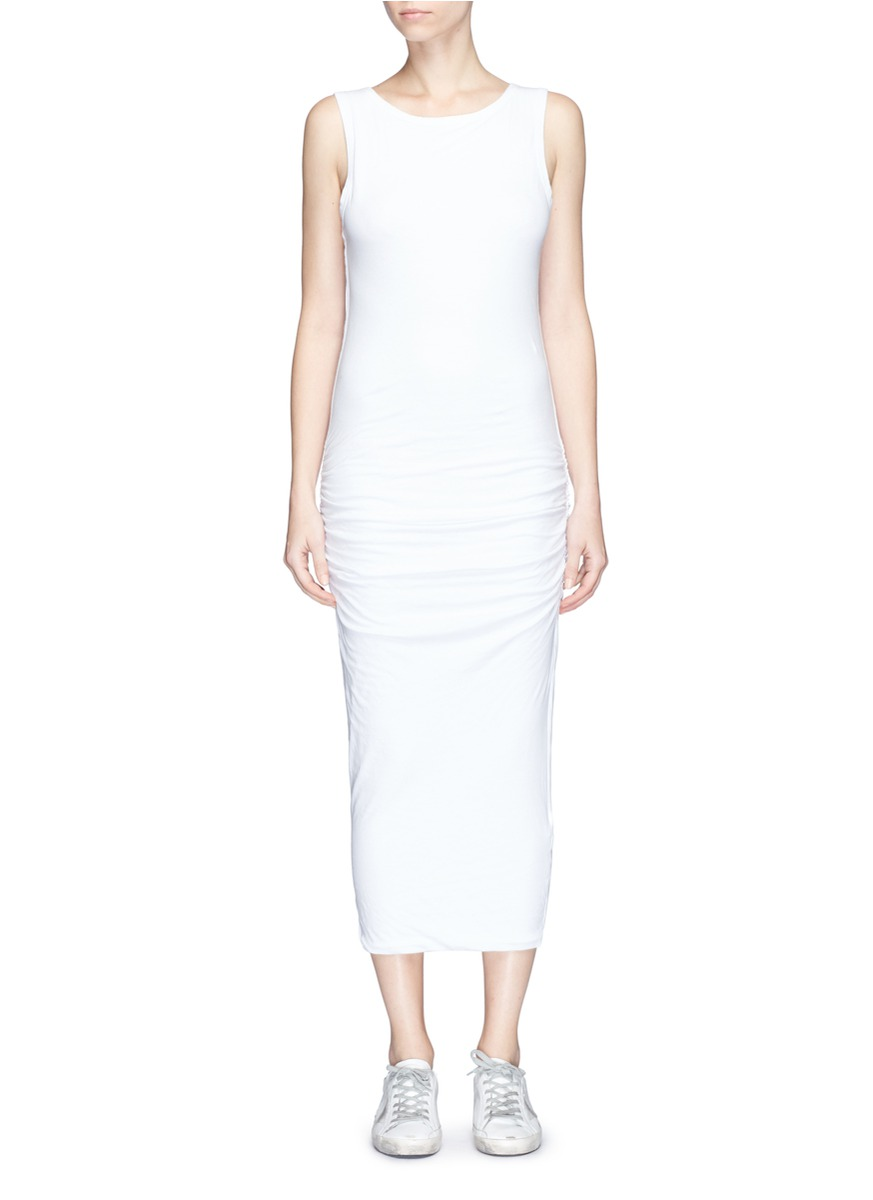Skinny Tank ruched side jersey dress by James Perse