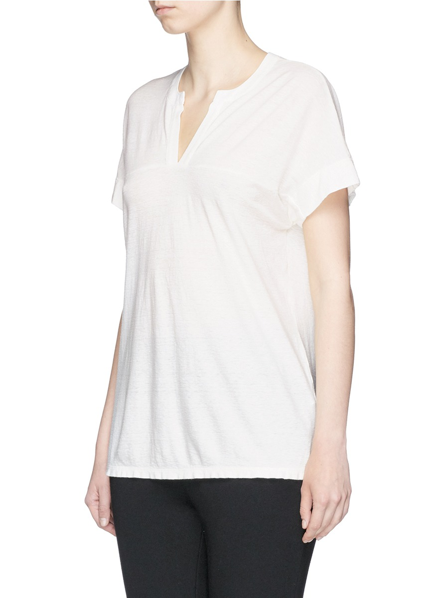 JAMES PERSE Cotton-Linen Jersey Polo T-Shirt