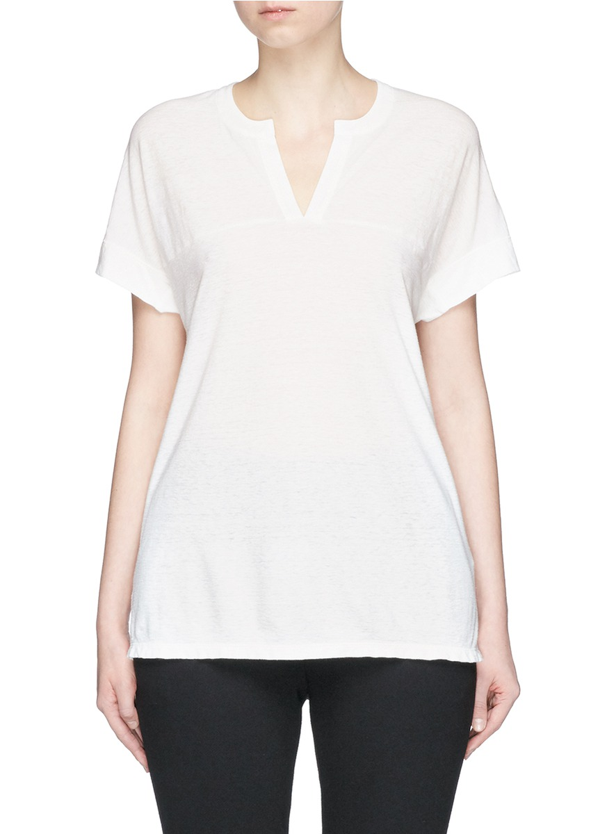 Cotton-linen jersey polo T-shirt by James Perse