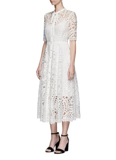 Temperley London 'Berry' ribbon tie patchwork guipure lace dress