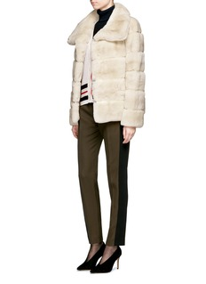 Yves Salomon Leather trim stripe panels rabbit fur coat