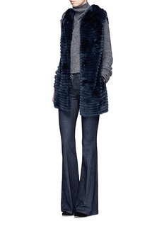Yves Salomon Stripe panel Rex rabbit fur hooded gilet