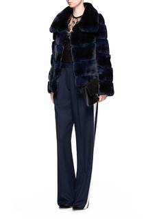 Yves Salomon Leather trim stripe panel rabbit fur coat