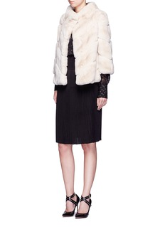 Yves Salomon Chevron panel Rex rabbit fur coat