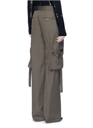 Back View - Click To Enlarge - Helmut Lang - Belted side cotton poplin cargo pants