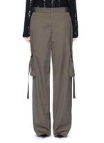 Belted side cotton poplin cargo pants