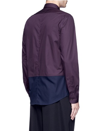 Back View - Click To Enlarge - Dries Van Noten - 'Coen' placket trim bicolour cotton shirt