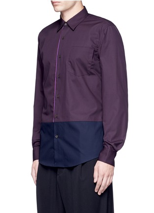 Front View - Click To Enlarge - Dries Van Noten - 'Coen' placket trim bicolour cotton shirt
