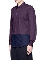 'Coen' placket trim bicolour cotton shirt