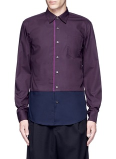 Dries Van Noten 'Coen' placket trim bicolour cotton shirt