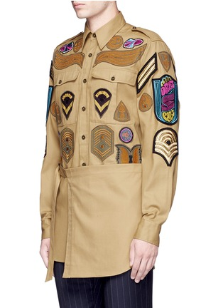 Front View - Click To Enlarge - Dries Van Noten - 'Cameron' military badge shirt