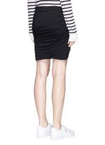 Shirred cotton jersey wrap mini skirt