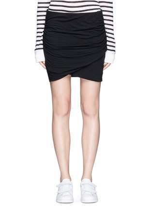 James Perse - Shirred cotton jersey wrap mini skirt