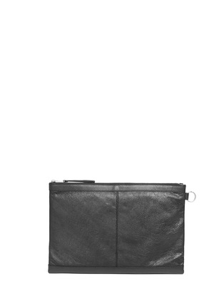 Back View - Click To Enlarge - Balenciaga - 'Clip' large matte leather zip pouch