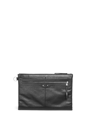 Main View - Click To Enlarge - Balenciaga - 'Clip' large matte leather zip pouch