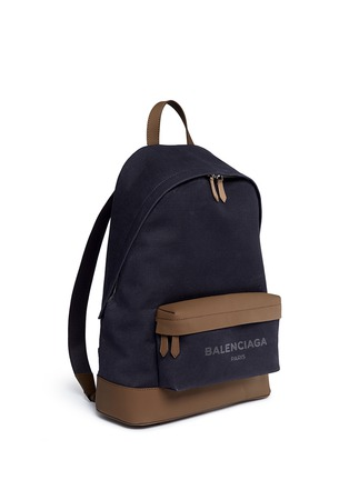 Front View - Click To Enlarge - Balenciaga - Leather trim colourblock canvas backpack