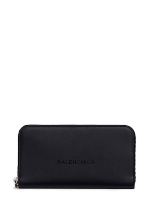 Balenciaga - Perforated logo leather continental wallet