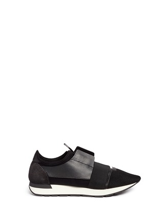 Main View - Click To Enlarge - Balenciaga - 'Race Runners' leather neoprene sneakers
