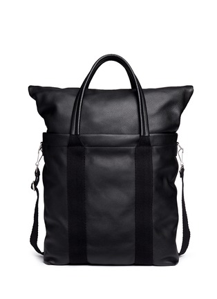 Back View - Click To Enlarge - Balenciaga - Foldable zip top North South leather tote