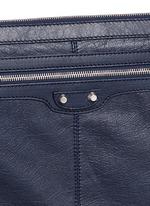 'Clip' large matte leather zip pouch